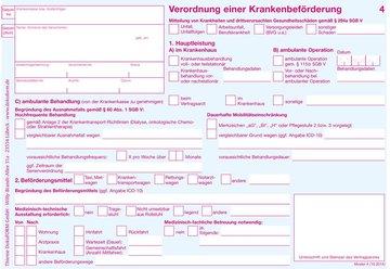 250x Verordnung einer  Krankenbeförderung (Muster 4)